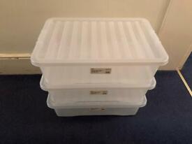 3 Underbed Storage Boxes 32L