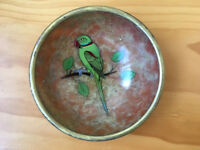 Decorative pale terracotta/beige soapstone bowl with parrot design on inside base. £2.