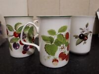 Fine bone china mug set of 12 - 3 different fruit designs.