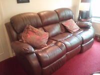 3 seat all real leather electric recliner sofa