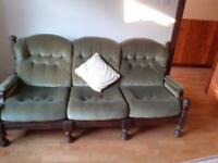 3 piece oak suite - green velour - excellent condition