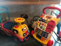 VTech Baby Walker & Mickey Mouse sit on car