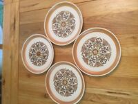 4 RETRO DENBY SUPPER PLATES, Canterbury Design, used for sale  Vale of Glamorgan