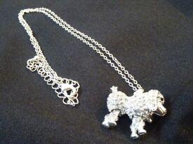 Swarowski Crystal Poodle Pendant on Chain
