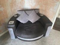 Link corner grey sofa and Bluetooth cuddle chair