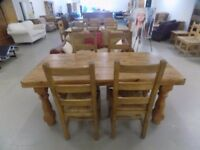 Beautiful Rustic Solid Pine Table With & 4 Dining Chairs