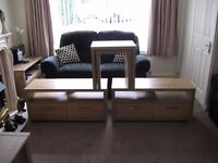 2 tv/hi-fi units and nest of 2 tables matchng beech effect