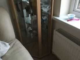 Corner glass cabinet with mirrors at the back