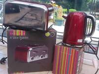 Ex Catalogue Spectrum Dunelm Mill Red Toaster And Four Slice Toaster Set