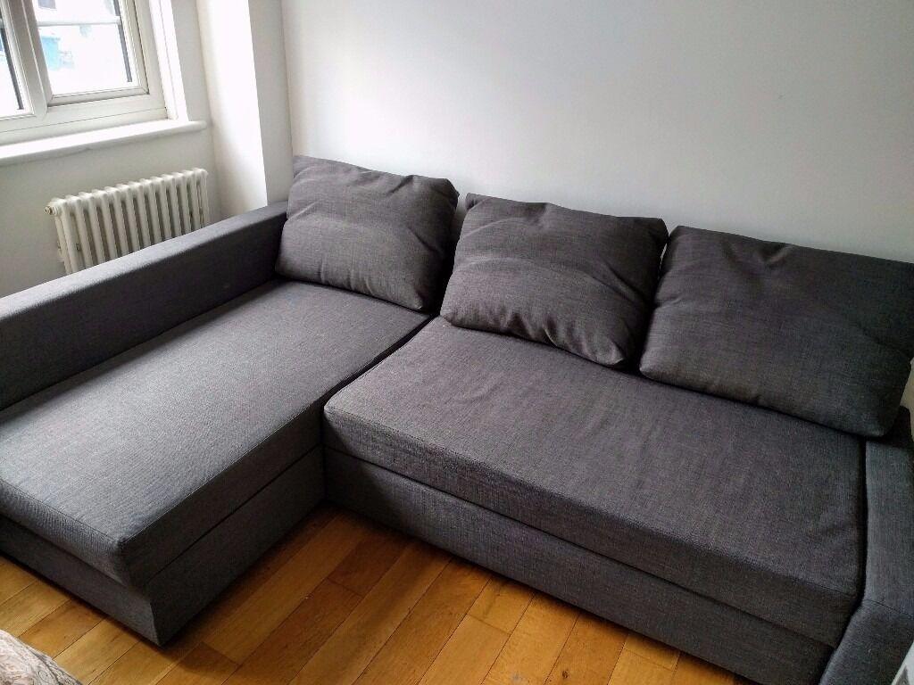 Ikea Corner Sofa Bed With Storage Friheten Skiftebo Dark