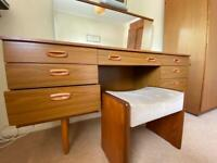 Schreiber Dressing Table & Stag Stool/Seat 8 drawers plus mirror.