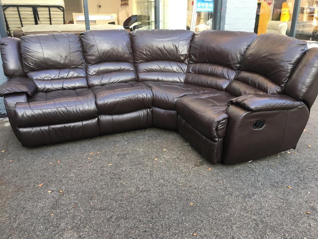 Brown Genuine Leather Corner Recliner Sofa