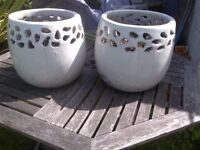 two large beautiful glazed terracotta plant pots excellent condition four available