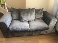 Silver velvet crushed sofas x2