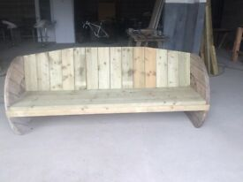 7foot solid wood cable drum bench—payment plans available