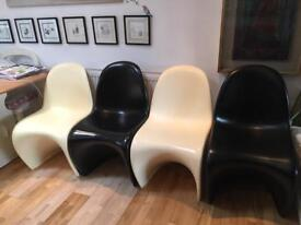 Iconic Panton Designer curved chairs