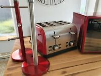 Red Microwave,Toaster & accessories