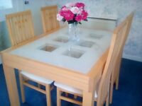 Beech & glass extending (4-10 comfortably) dining table & 4 matching chairs