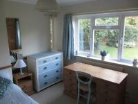 Large double bedroom in detached house within 10 mins walking distance of High Street/railway stn