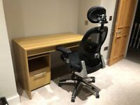 Office Desk, Chair and Pull-out Drawer - LIKE NEW