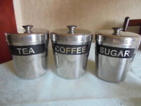 Set of 3 Stainless Steel Tea, Coffee & Sugar Cannisters