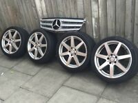 Mercedes w204 c220 7 spoke amg alloys with tyres
