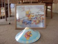 Winnie the pooh lamp shade and large picture