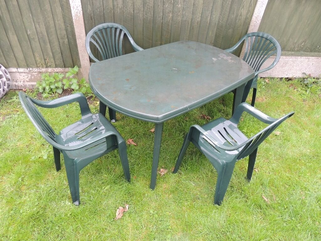 Patio garden furniture set large plastic table and 4 for Garden table and chairs