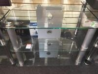 Glass Tv Stand , Silver Legs
