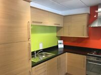 EX DISPLAY Brand New Oak Slab Kitchen Units With Appliances ETC