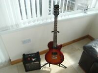 electric guitar and roland micro cube