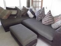 2 Sofa Cushion Backed Corner Suite with Extra Side Seat/footstool
