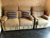 SCS Beige 2 Seater Recliner Sofa and 1 Arm Chair