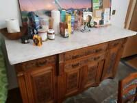 Kitchen oak dresser with marble top