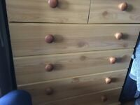 Triple wardrobe, chest of drawers and bedside table