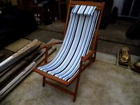 new hardwood framed and canvas deck chair with fire regs £25. o.n.o.