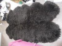 Large sheepskin rug (dark brown)