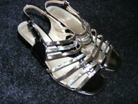 Silver & Black Lotus Genuine Leather Patent Shoes Size 5 Only Worn Once.