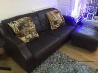 Lovely 2/3 Seater Leather Sofa and Ottoman.