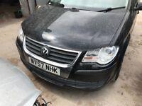 Vw touran 2007-2010 facelift front end in black - bumper headlight wing bonnet slam panel breaking