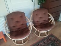 Vintage 360 Degree Rotating Swivel Rattan Chairs set of 2. Removable Cushions for easy cleaning.