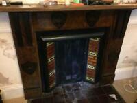 Slate fireplace wood veneer.