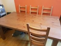 Large Ikea Forsby Pine Dinning Room Table and 4 chairs