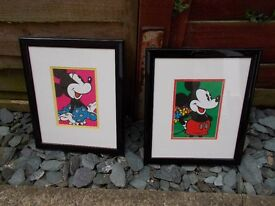 Pair of Mickey & Minnie Mouse framed prints