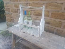 Vintage Wood Milk Wine Bottle Holder Carrier Tray Shabby Chic White Grey Rustic Kitchen Ornament Bar