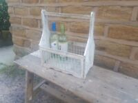 Vintage Wood Milk Wine Bottle Holder Carrier Tray Shabby Chic White Grey Rustic Kitchen Ornament Bar