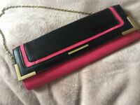 River island small pink and black clutch bag