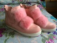 Pink fluffy Ankle Boots...festival NEW 7 / 8