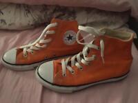 Child's converse in orange colour size 2.5