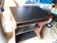 FREE - Computer table. Brown wood with black shelving